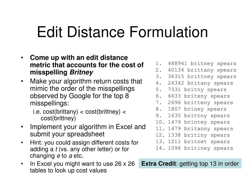 Edit Distance Formulation