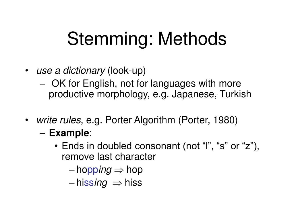 Stemming: Methods