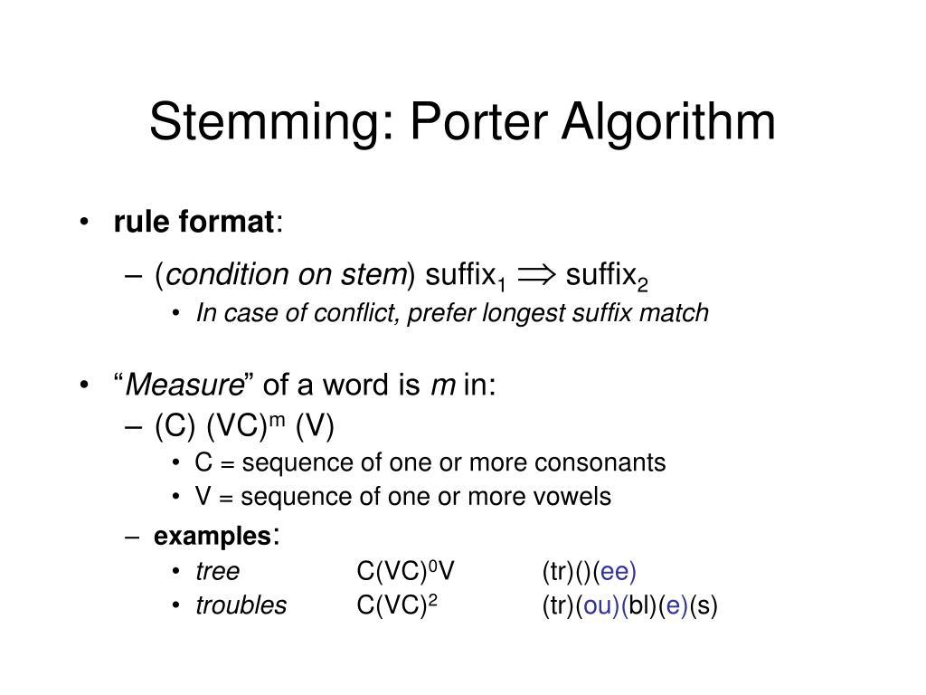 Stemming: Porter Algorithm