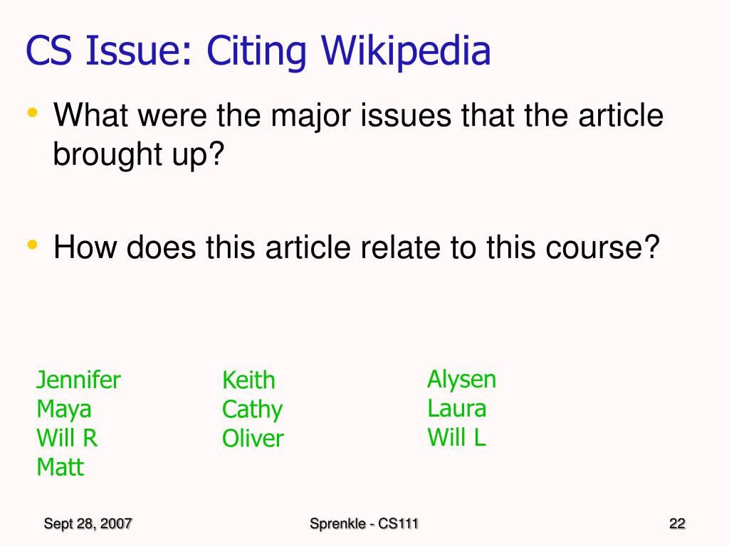 CS Issue: Citing Wikipedia