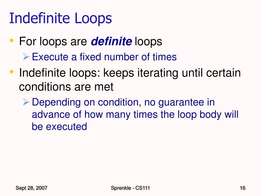 Indefinite Loops