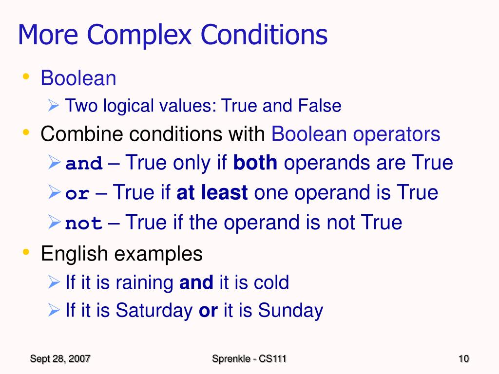 More Complex Conditions