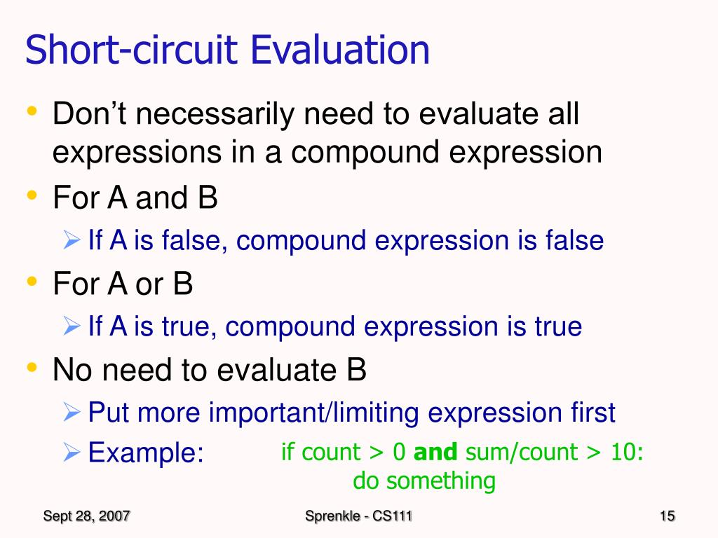 Short-circuit Evaluation