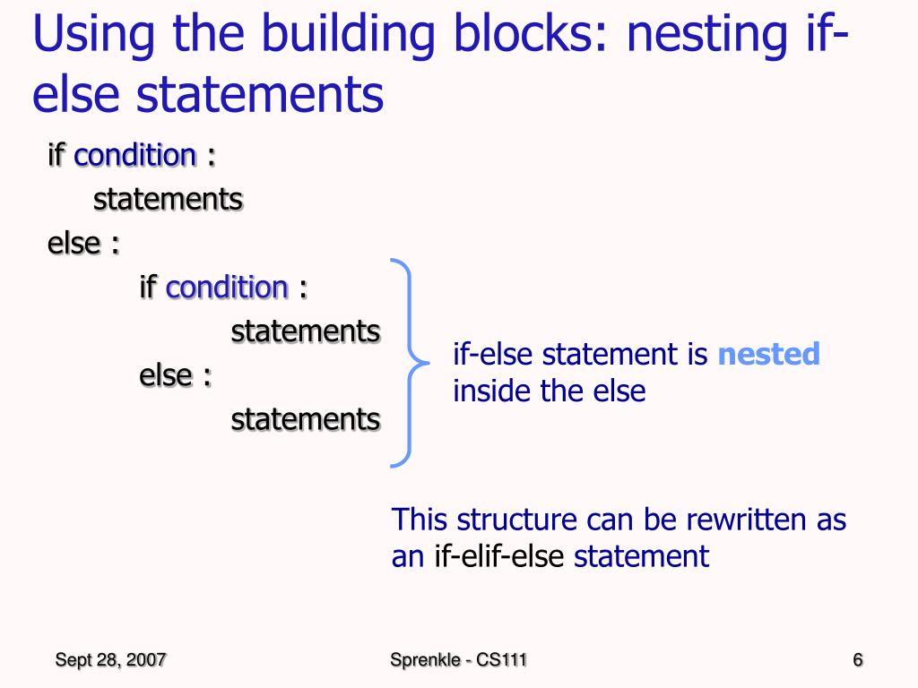 Using the building blocks: nesting if-else statements