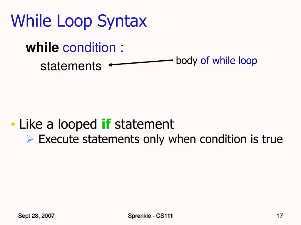 While Loop Syntax
