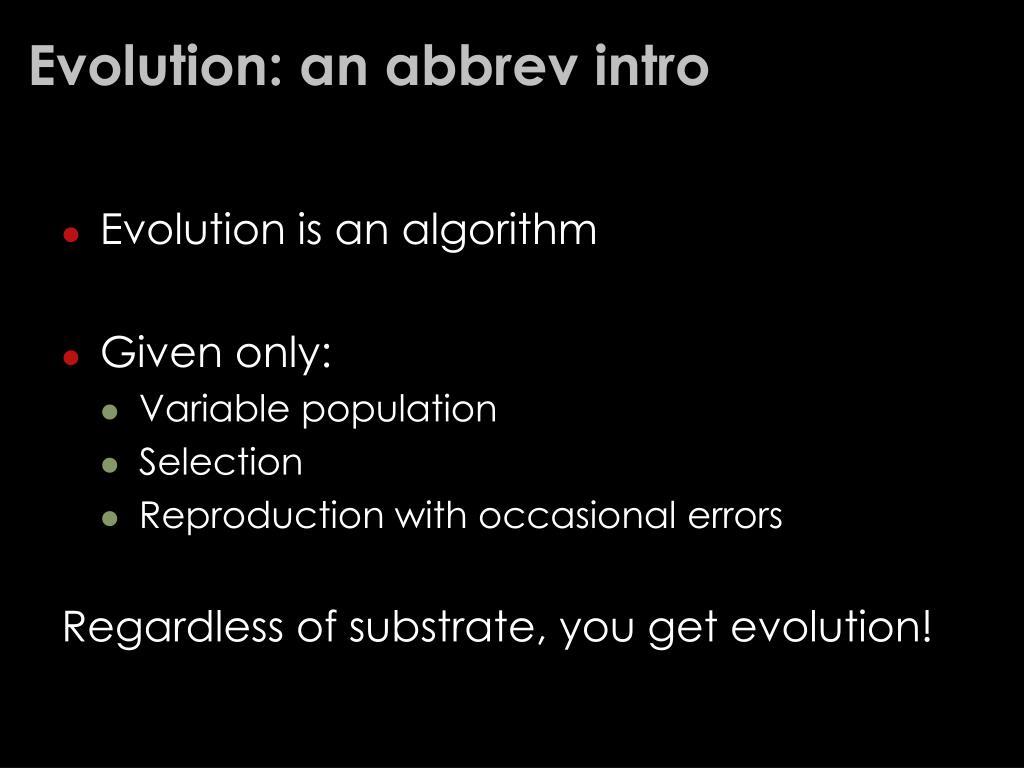 Evolution: an abbrev intro