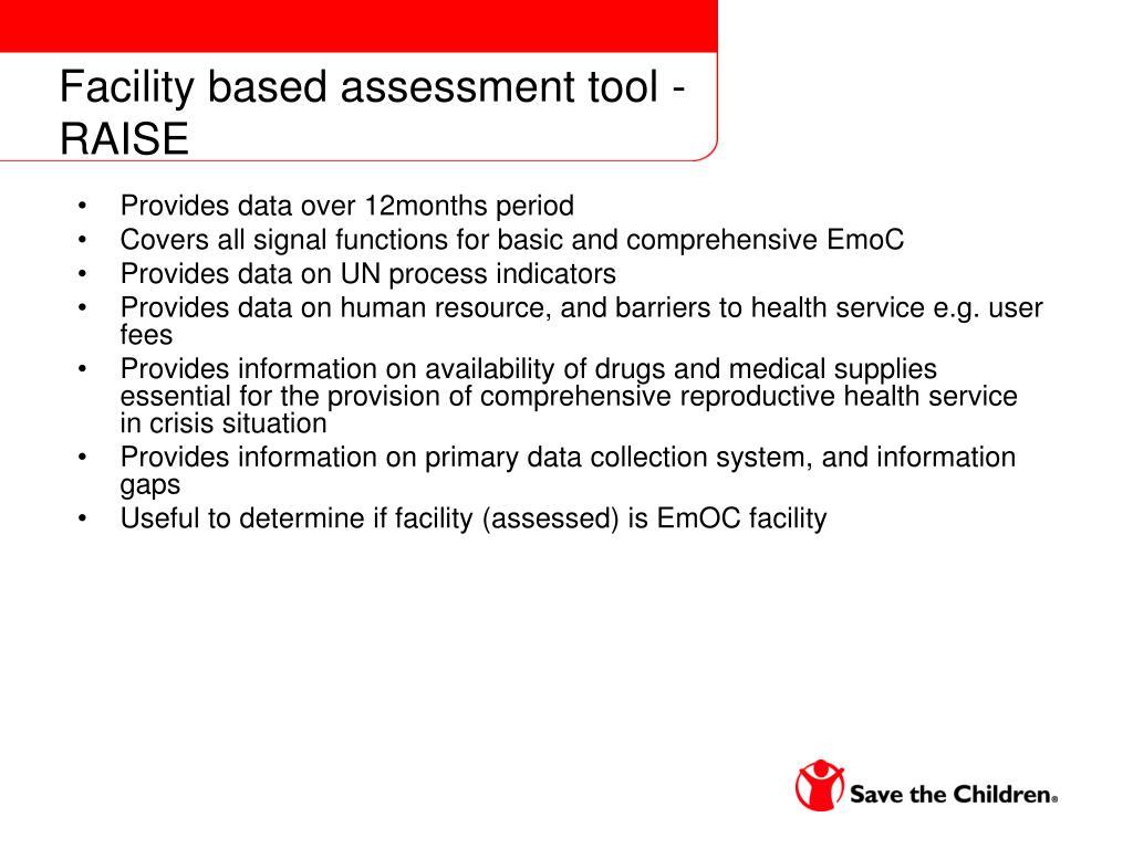 Facility based assessment tool - RAISE