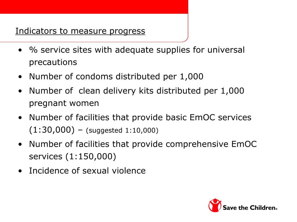 Indicators to measure progress