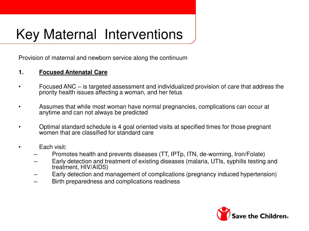 Key Maternal  Interventions
