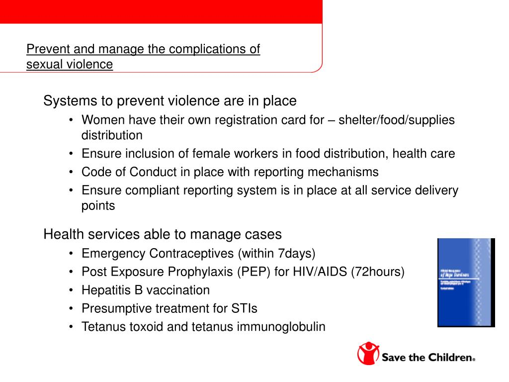 Prevent and manage the complications of sexual violence