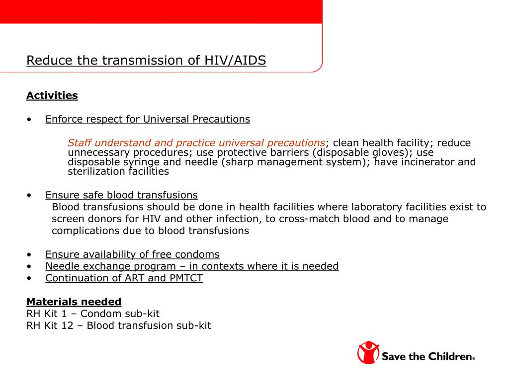 Reduce the transmission of HIV/AIDS