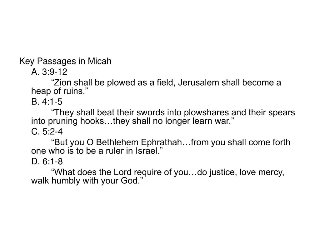 Key Passages in Micah