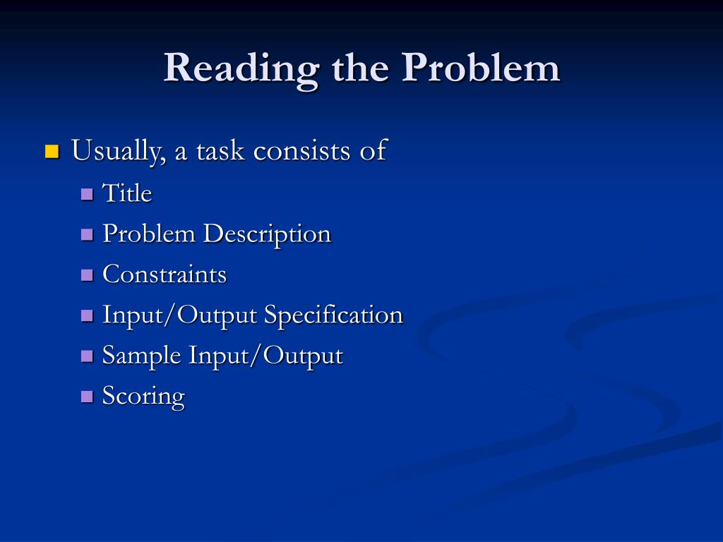 Reading the Problem