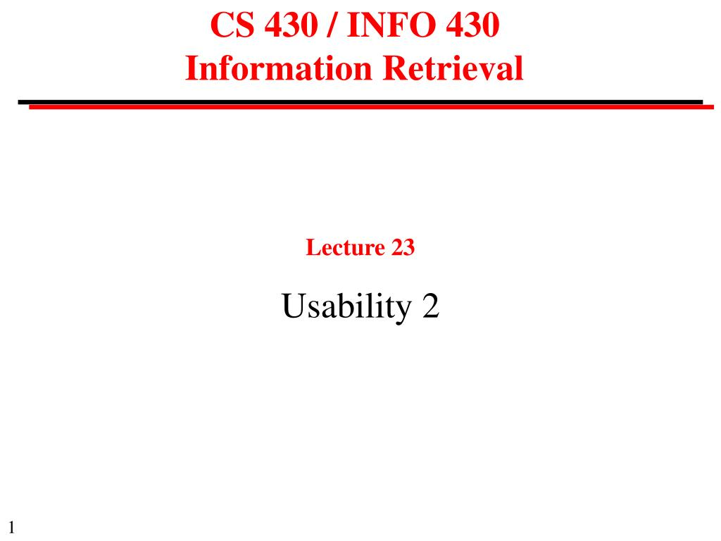 cs 430 info 430 information retrieval
