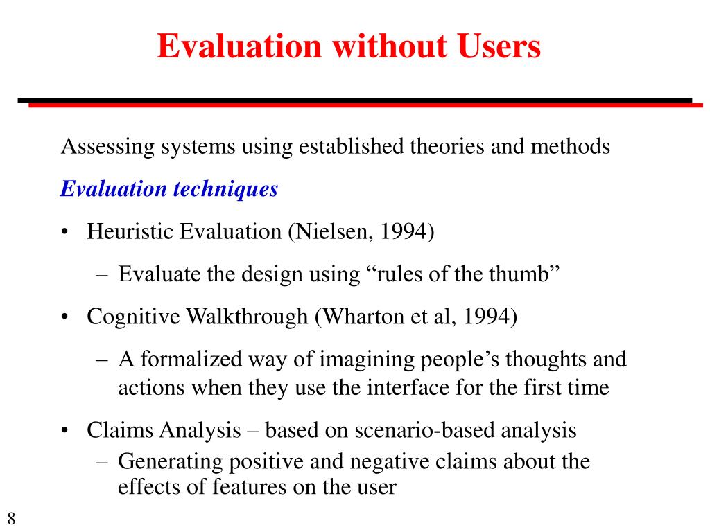 Evaluation without Users