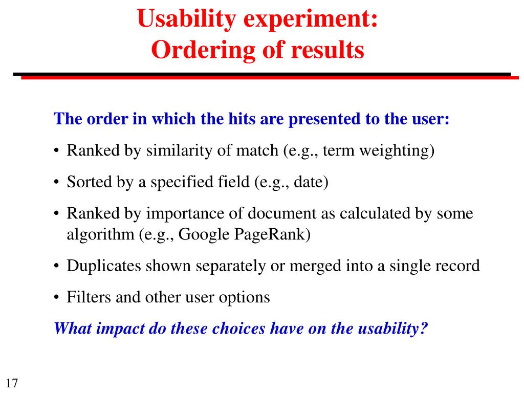 Usability experiment: