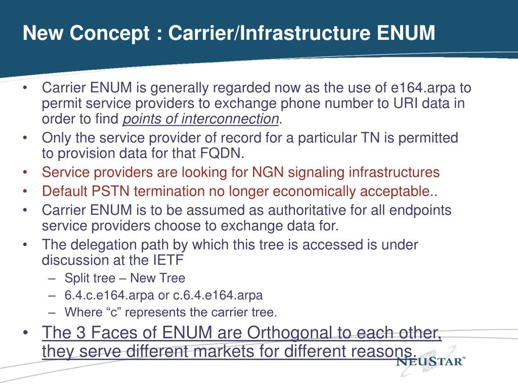 New Concept : Carrier/Infrastructure ENUM
