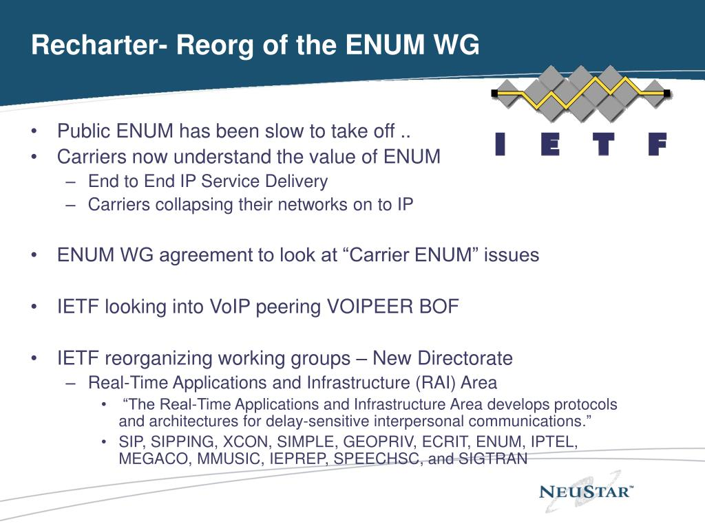 Recharter- Reorg of the ENUM WG