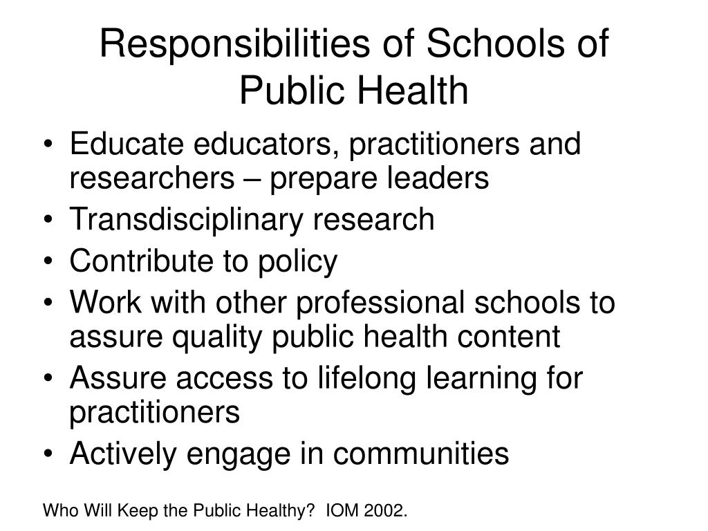 Responsibilities of Schools of Public Health