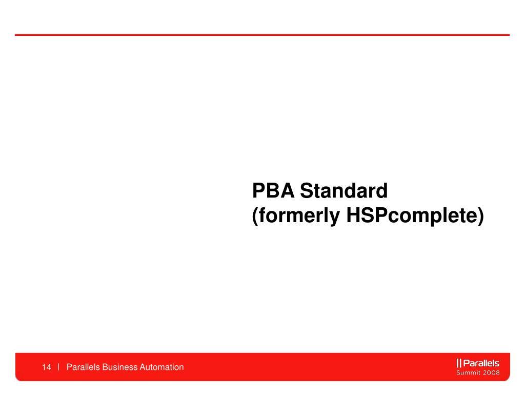PBA Standard