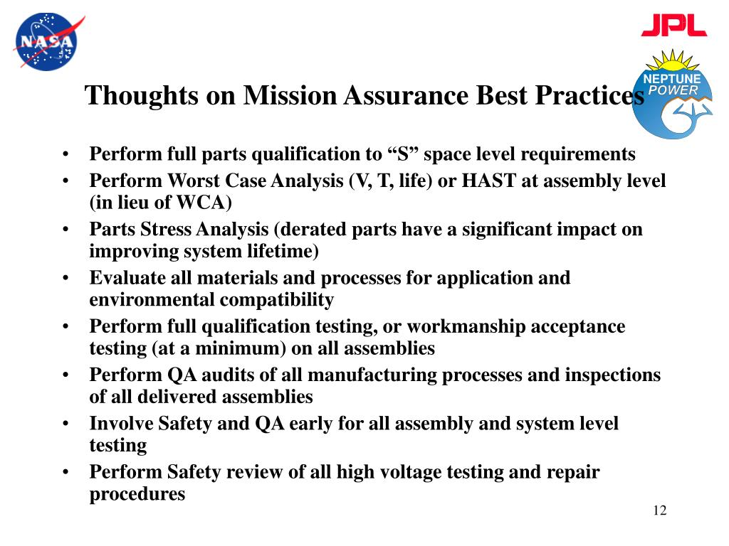 Thoughts on Mission Assurance Best Practices