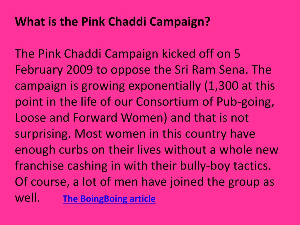 What is the Pink Chaddi Campaign?