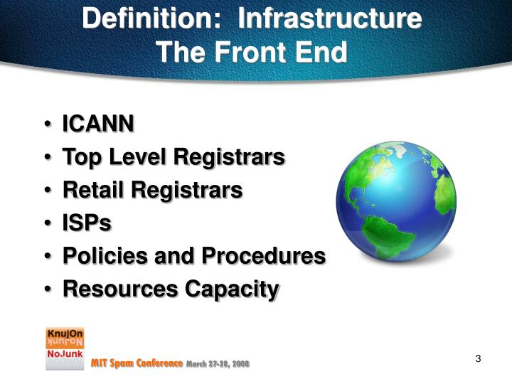 Definition infrastructure the front end