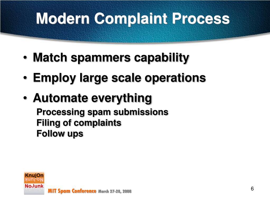Modern Complaint Process