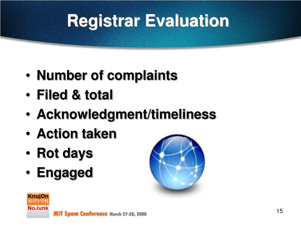 Registrar Evaluation