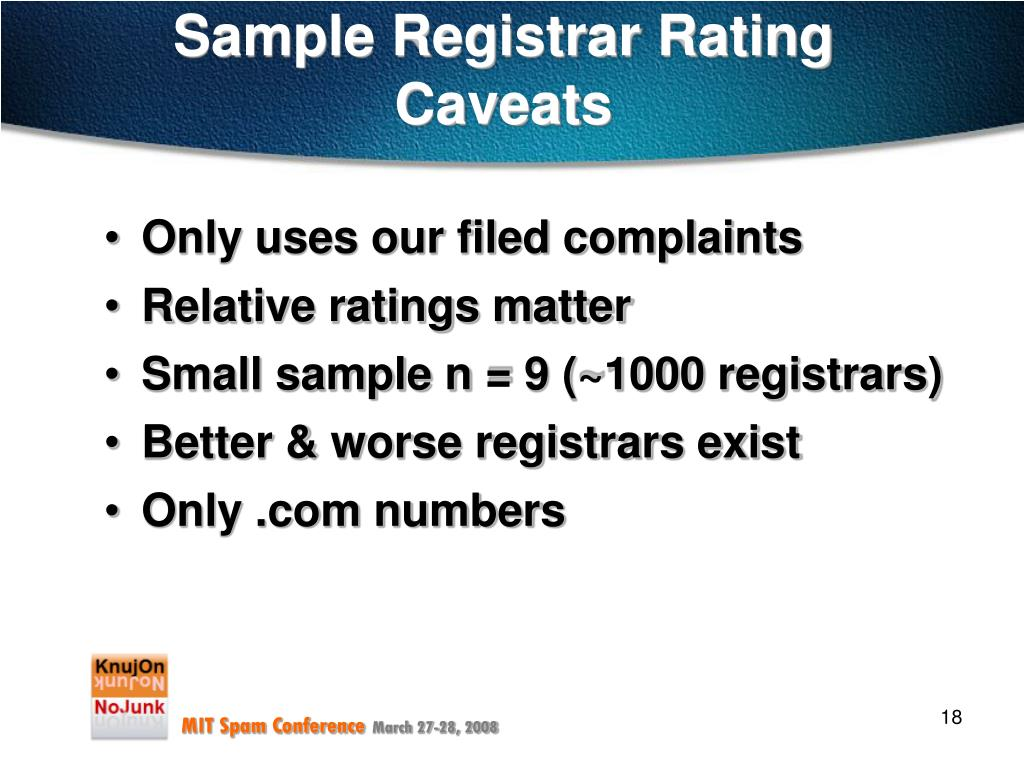Sample Registrar Rating
