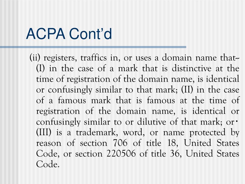 ACPA Cont'd