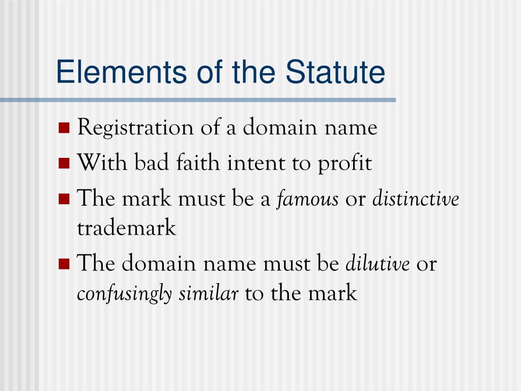 Elements of the Statute