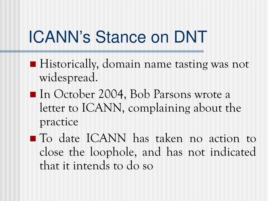 ICANN's Stance on DNT