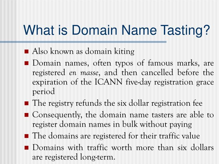 What is domain name tasting