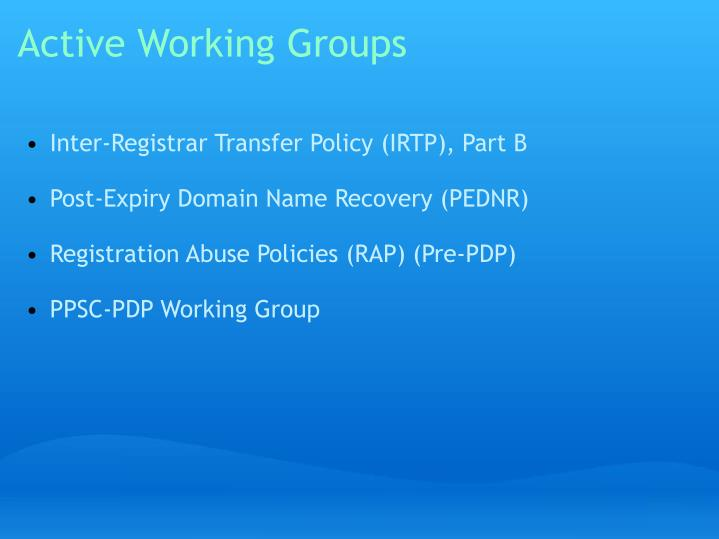 Active working groups