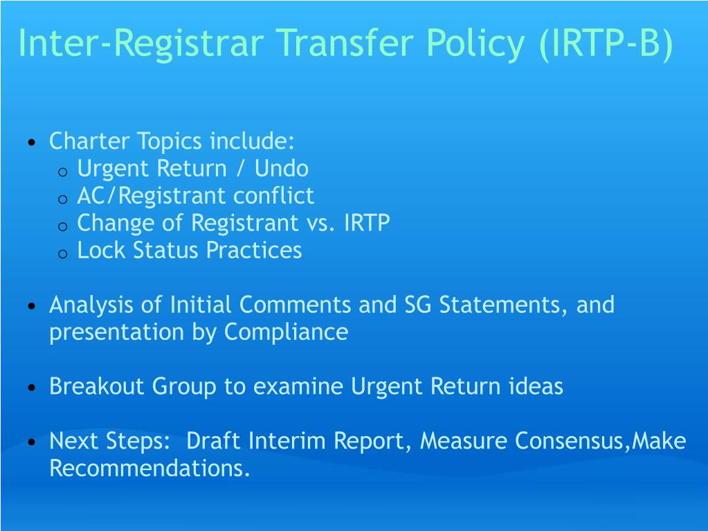 Inter-Registrar Transfer Policy (IRTP-B)