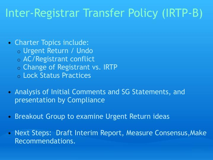 Inter registrar transfer policy irtp b
