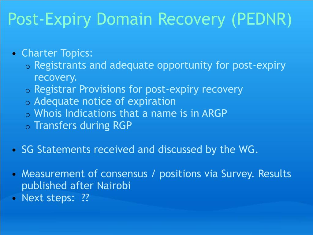 Post-Expiry Domain Recovery (PEDNR)