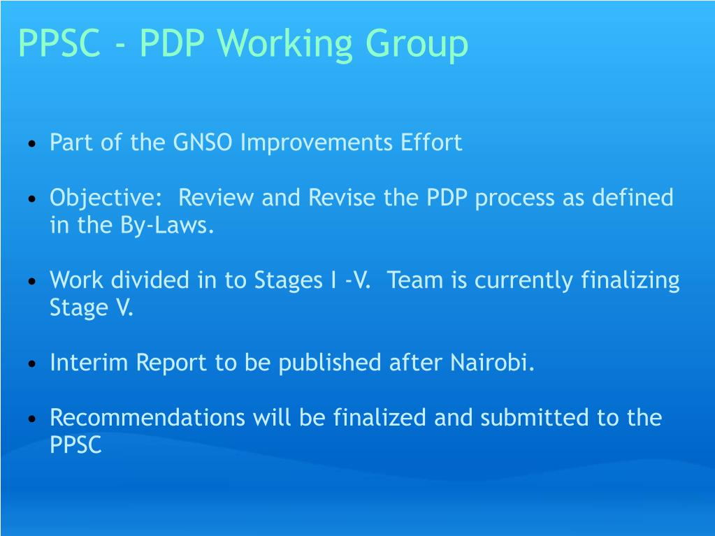PPSC - PDP Working Group