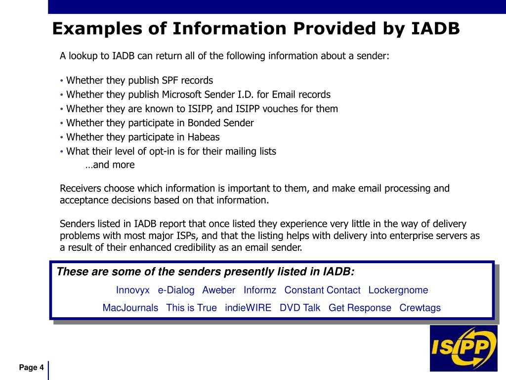 A lookup to IADB can return all of the following information about a sender: