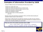 examples of information provided by iadb