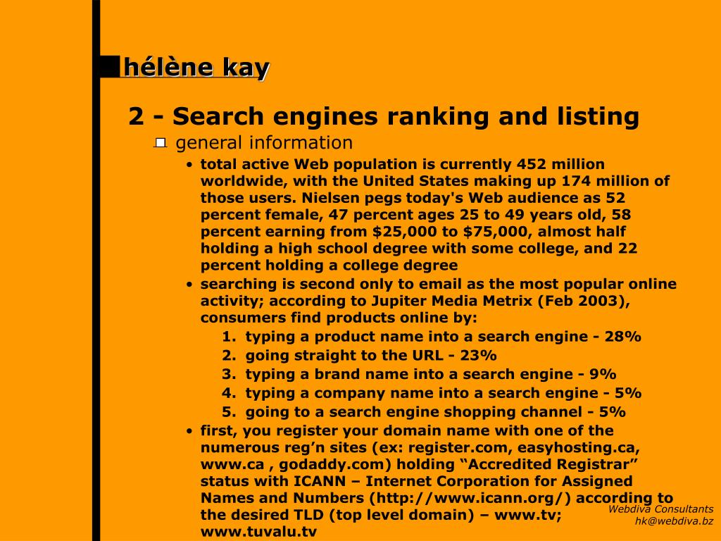 2 -	Search engines ranking and listing