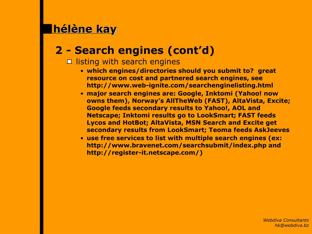 2 -	Search engines (cont'd)