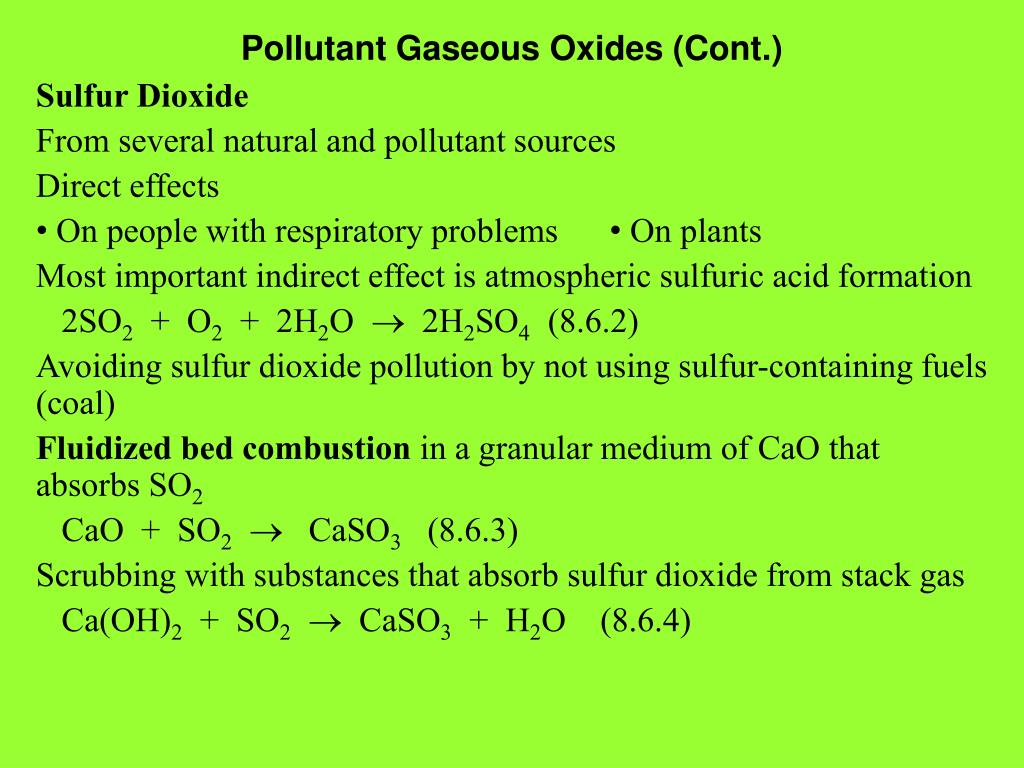 Pollutant Gaseous Oxides (Cont.)