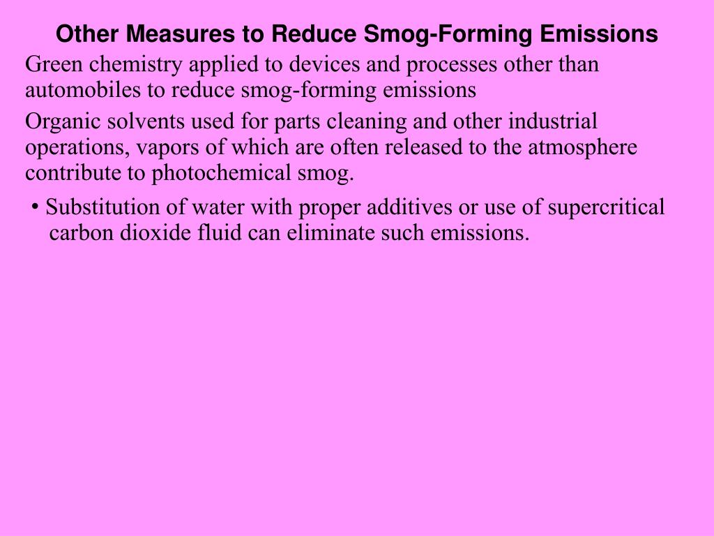 Other Measures to Reduce Smog-Forming Emissions