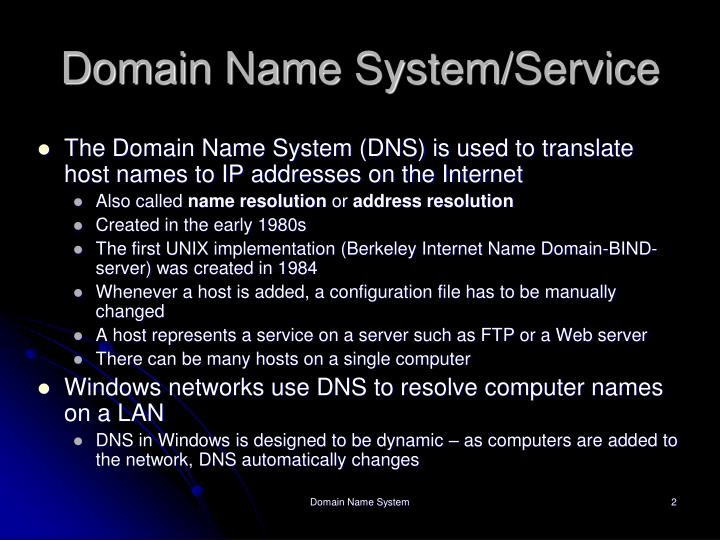 Domain name system service