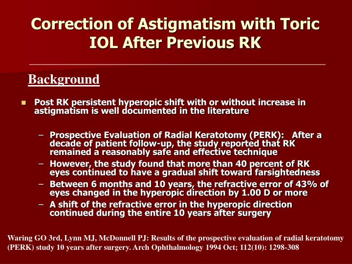 Correction of astigmatism with toric iol after previous rk1