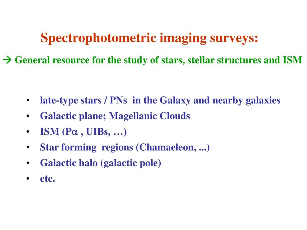 Spectrophotometric imaging surveys: