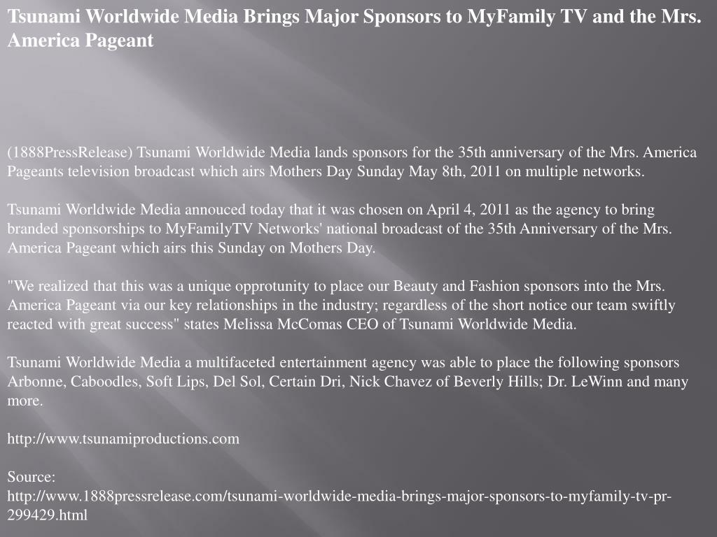 Tsunami Worldwide Media Brings Major Sponsors to MyFamily TV and the Mrs. America Pageant