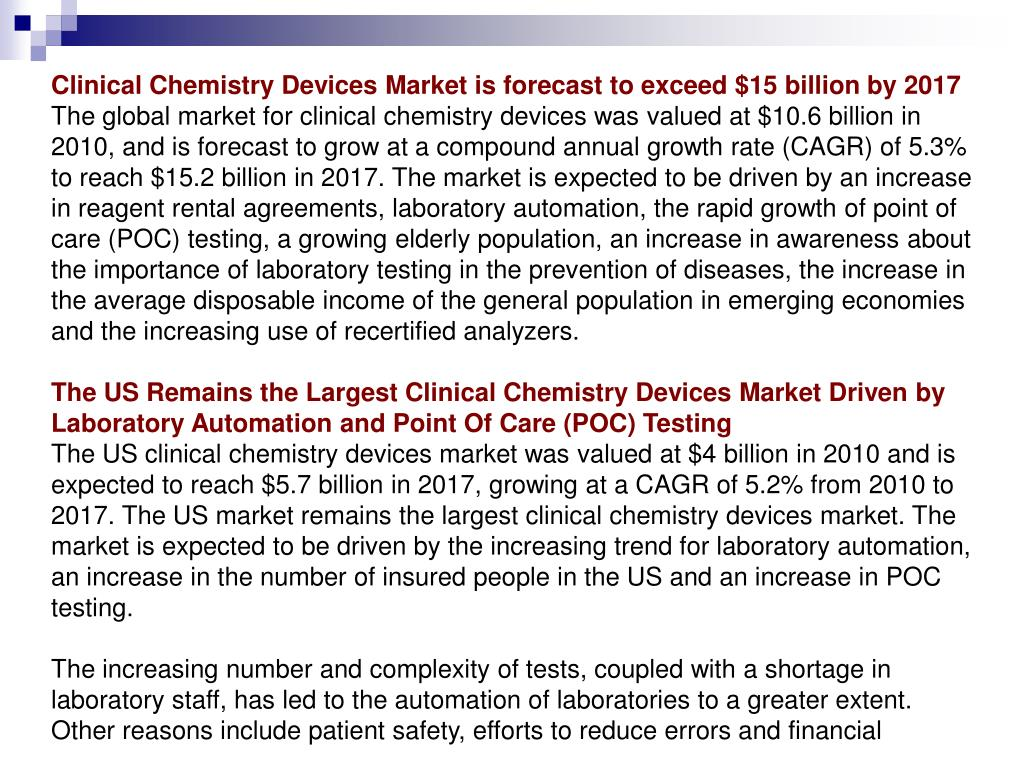 Clinical Chemistry Devices Market is forecast to exceed $15 billion by 2017